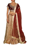 Maroon and Cream Velvet Lehenga Set
