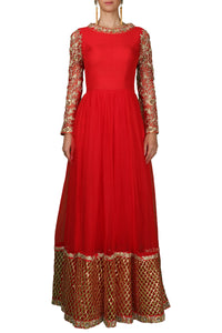 Red Soft Net Embroidered Anarkali