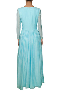 Sky Blue High Neck Gown