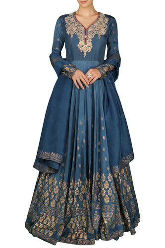Blue Anarkali Gown with Dupatta