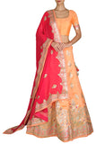Peach and Pink Gota Lehenga Set