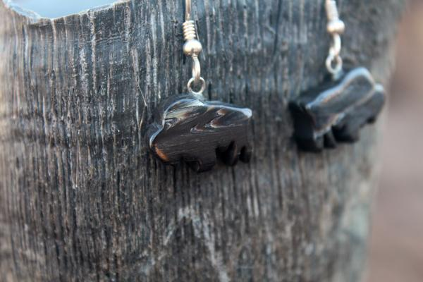 Bison Horn Earrings - bison shaped