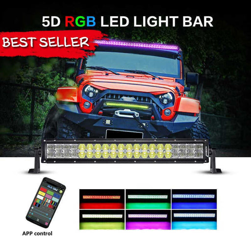 "Auxbeam 22"" RGB 120W Combo Color Changing Off Road LED Light Bar"