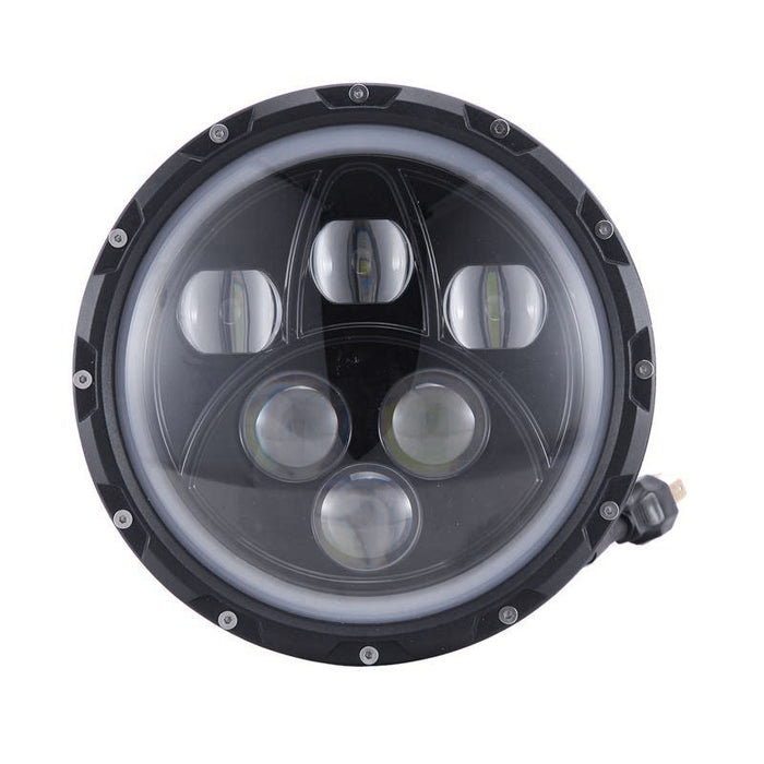 "Auxbeam 7"" 60W High/Low Beam LED Headlight with Halo Ring"