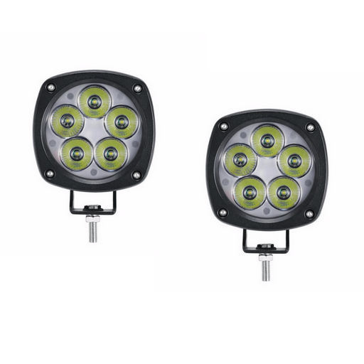 "Auxbeam 4"" 50W Round Off Road LED Lights Spot Beam Pair w/ Mount Brackets"