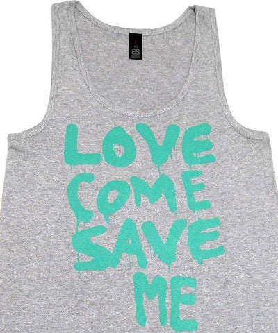 T-shirts - [singlet] Love Save Me - Aqua On Grey Female Singlet