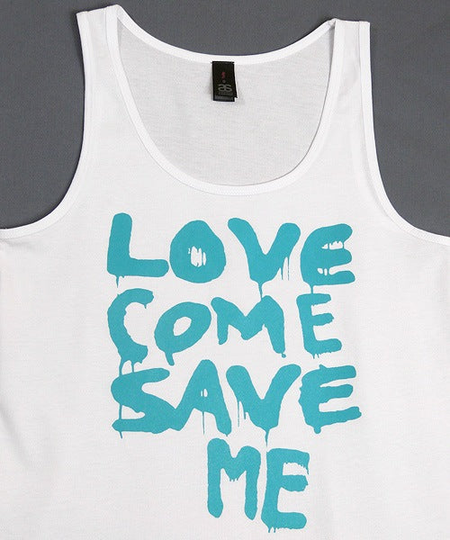 T-shirts - [singlet] Love Save Me - Aqua On White Female Singlet