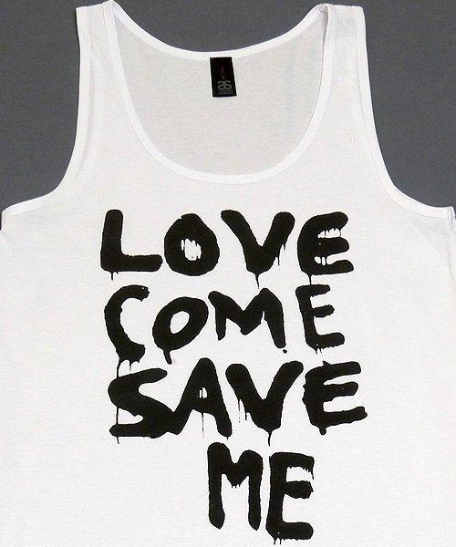 T-shirts - [singlet] Love Save Me - Black On White Female Singlet