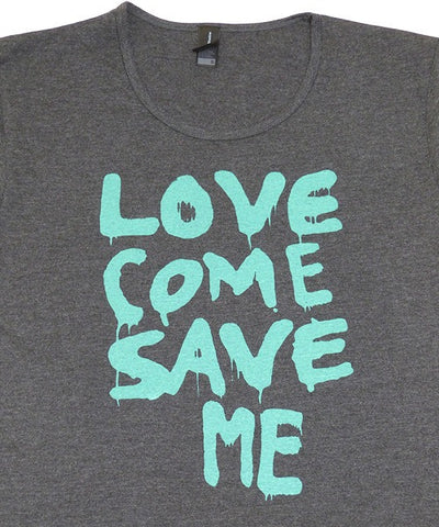 T-shirts - [t-shirt]  Love Save Me - Aqua On Grey