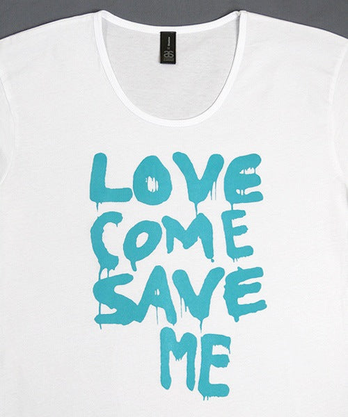 T-shirts - [t-shirt]  Love Save Me - Aqua On White