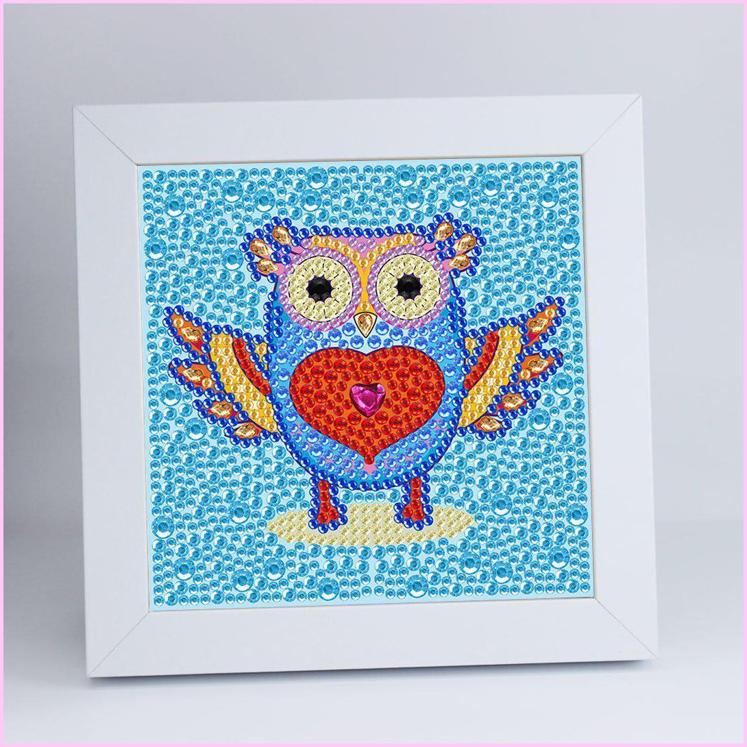 "Kids ""Pebbles"" Diamond Painting - Heart Owl"