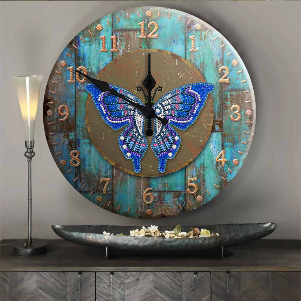 Eternal Butterfly Tin Wall Clock - Heartful Diamonds