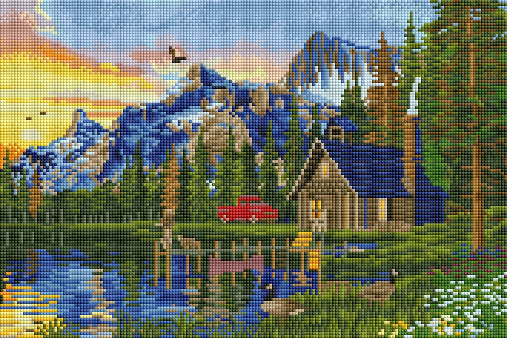 sunset log cabin diamond painting rendering preview by create love share