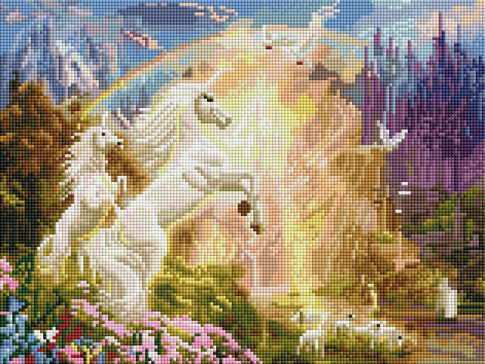 sunset unicorns diamond painting rendering preview by create love share