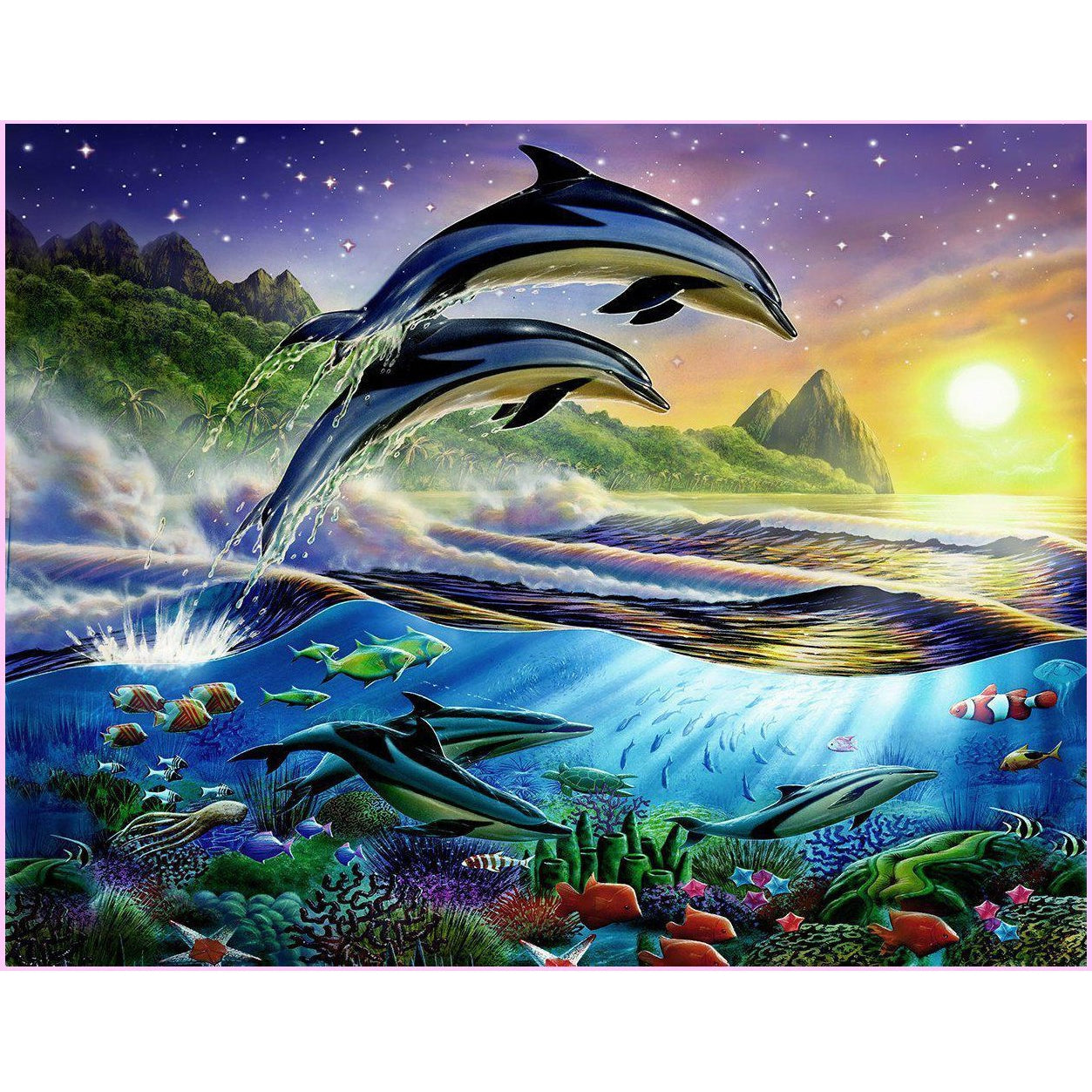 Atlantic Dolphins-Diamond Painting Kit USPS-30x40cm (12x16 in)-Square-Heartful Diamonds