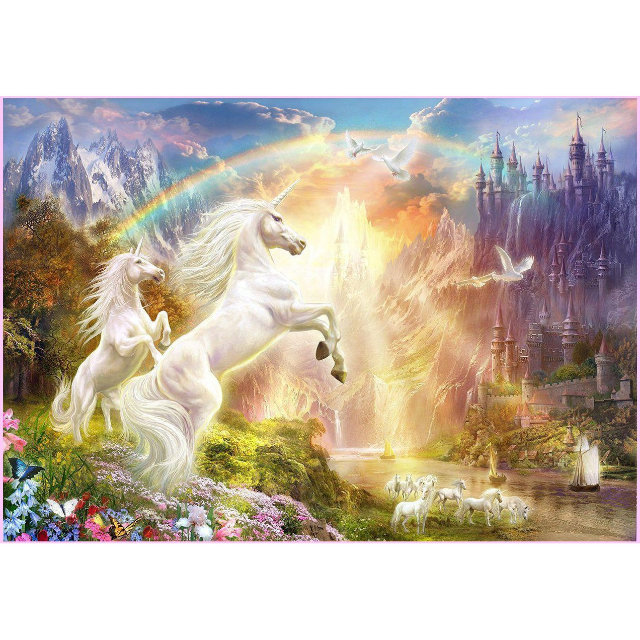 Sunset Unicorns-Diamond Painting Kit USPS-30x40cm (12x16 in)-Square-Heartful Diamonds
