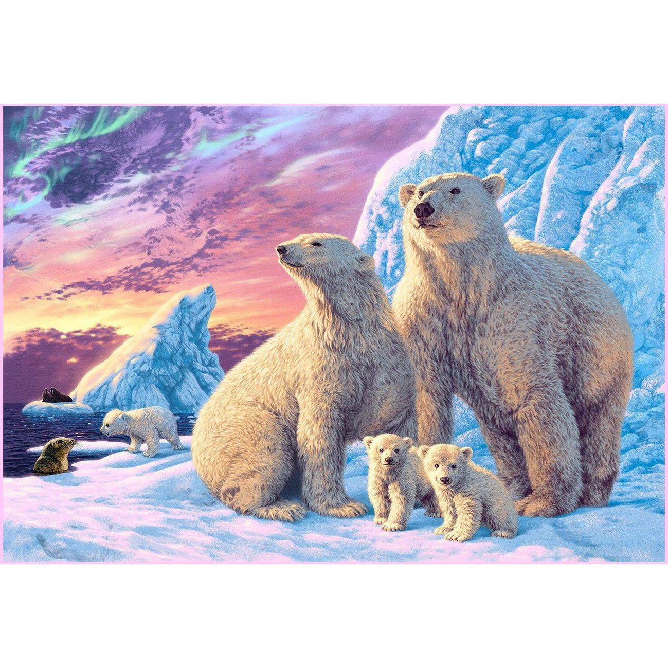 Polar Bears-Diamond Painting Kit USPS-30x40cm (12x16 in)-Square-Heartful Diamonds