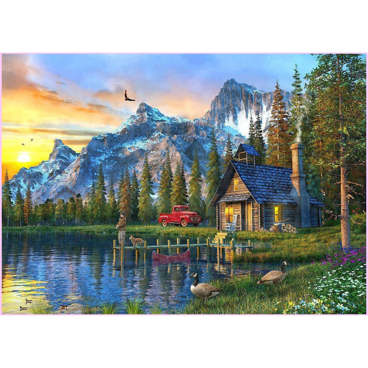 Sunset Log Cabin-Diamond Painting Kit USPS-30x45cm (12x18 in)-Square-Heartful Diamonds