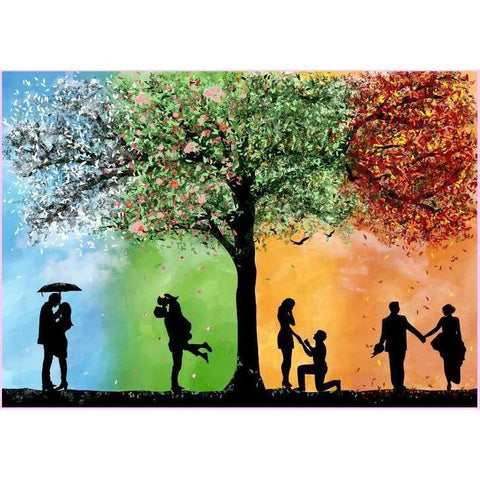 4 Seasons Romance-Diamond Painting Kit USPS-50x70cm (20x28 in)-Round-Heartful Diamonds
