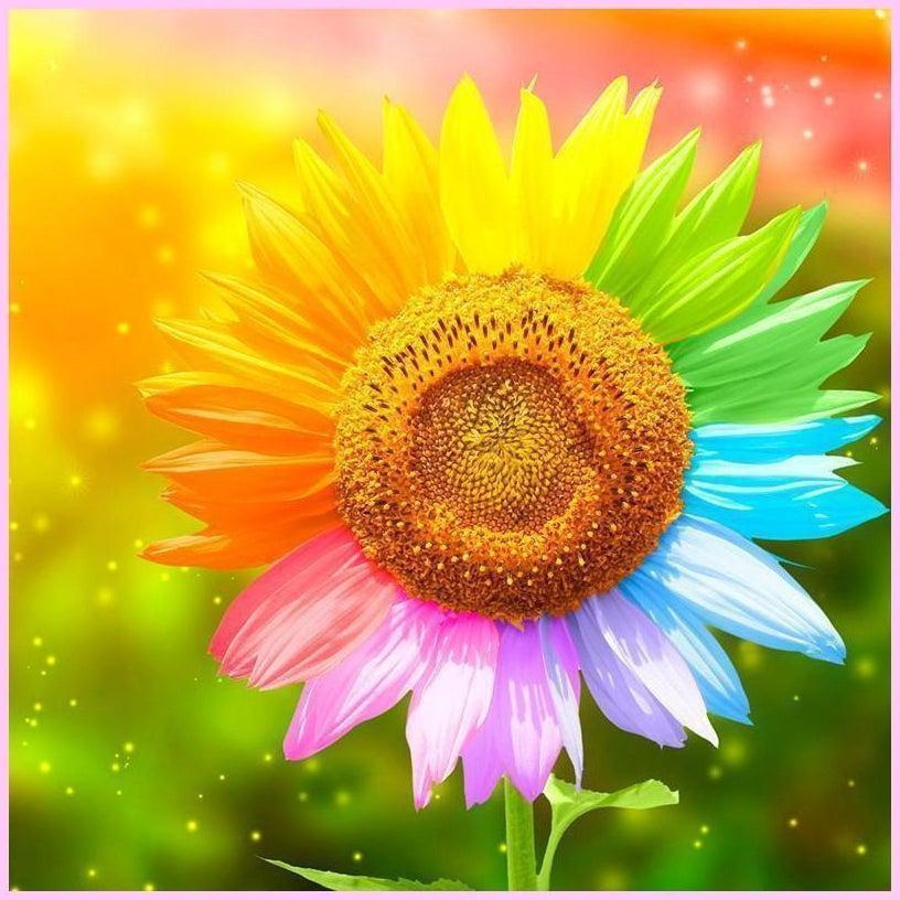 7 Colors Sunflower-Diamond Painting Kit USPS-40x40cm (16x16 in)-Square-Heartful Diamonds