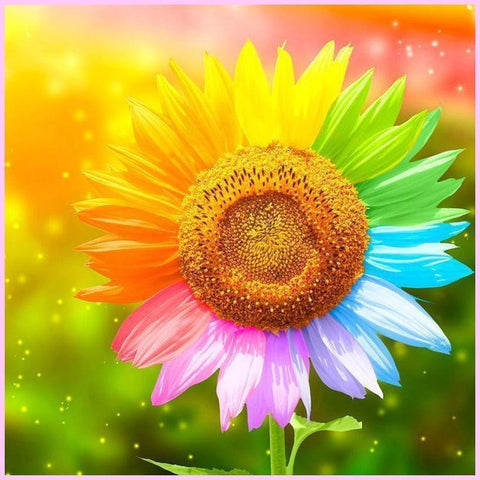 7 Colors Sunflower-Diamond Painting Kit USPS-40x40cm (16x16 in)-Round-Heartful Diamonds