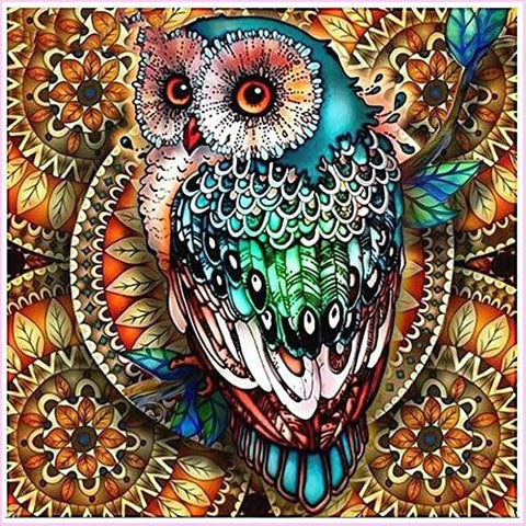 Image of Amazing Owl-Diamond Painting Kit USPS-40x40cm (16x16 in)-Round-Heartful Diamonds