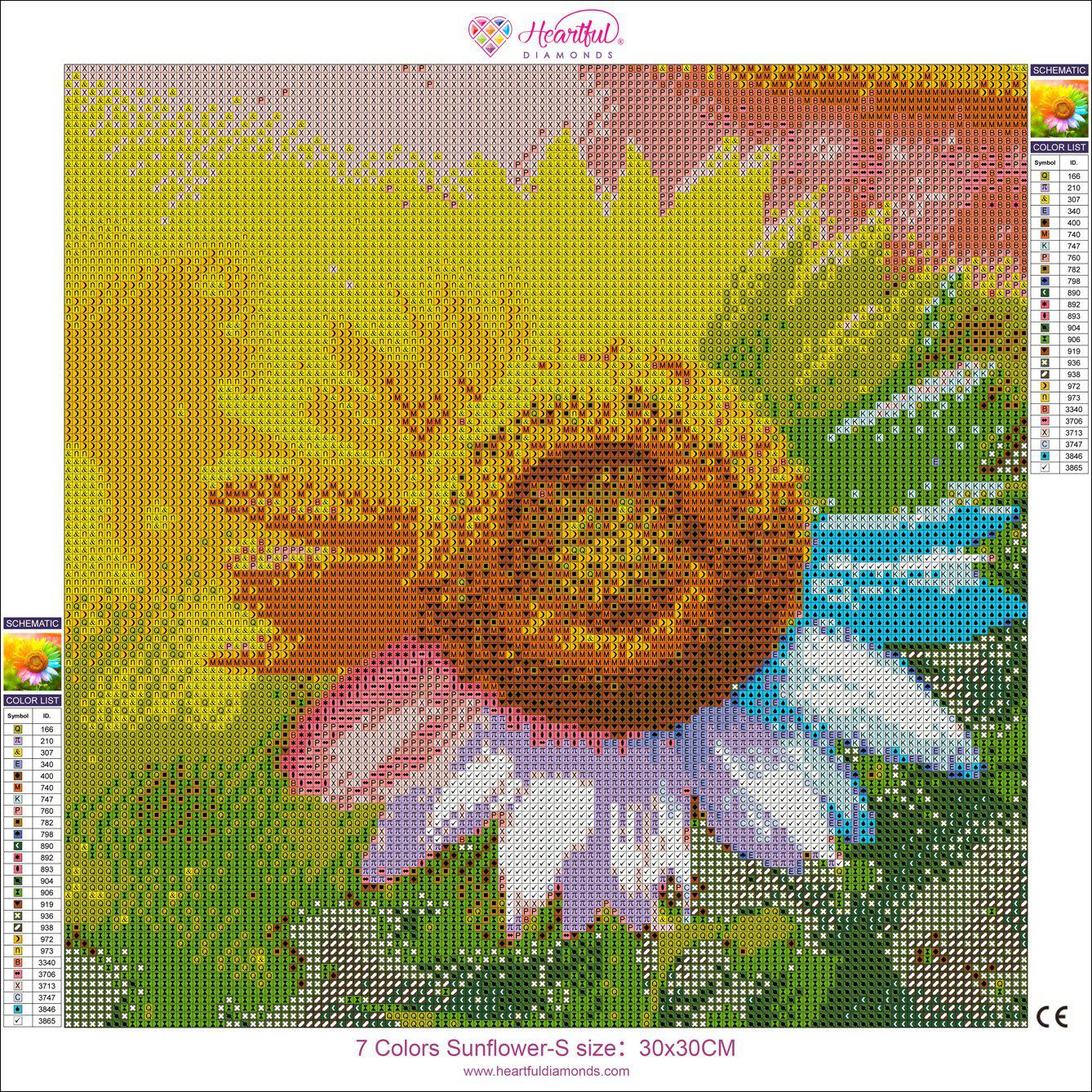7 Colors Sunflower-Diamond Painting Kit -30x30cm (12x12 in)-Round-Heartful Diamonds