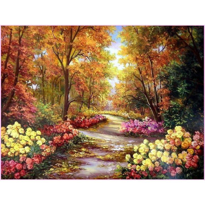 Colorful Nature Landscape Collection-Diamond Painting Kit USPS-N172-30x40cm (12x16 in)-Square-Heartful Diamonds