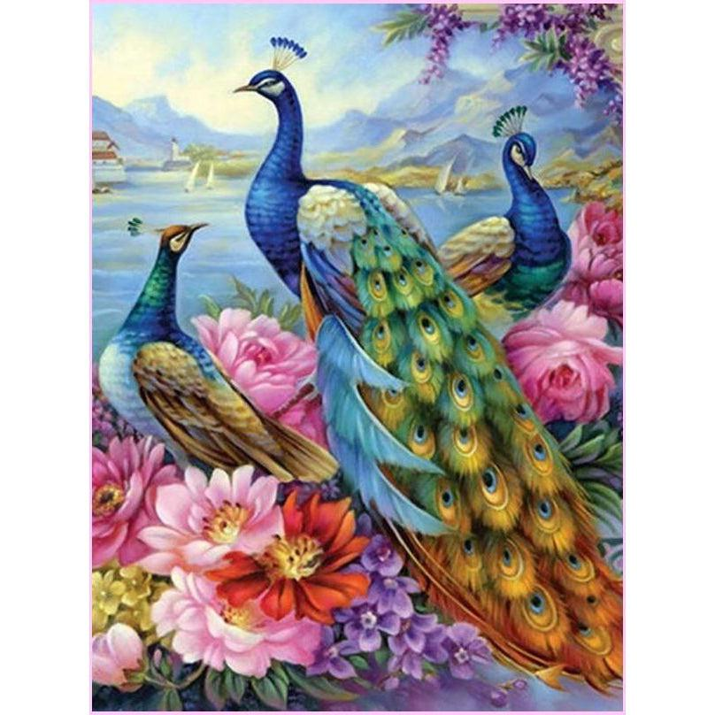 Blooming Peacock-Diamond Painting Kit 40x30cm (16x12 in) -Square-Heartful Diamonds