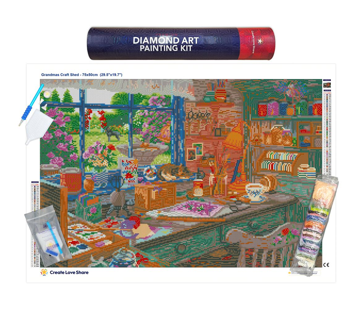 grandmas craft shed diamond painting canvas kit layout by create love share
