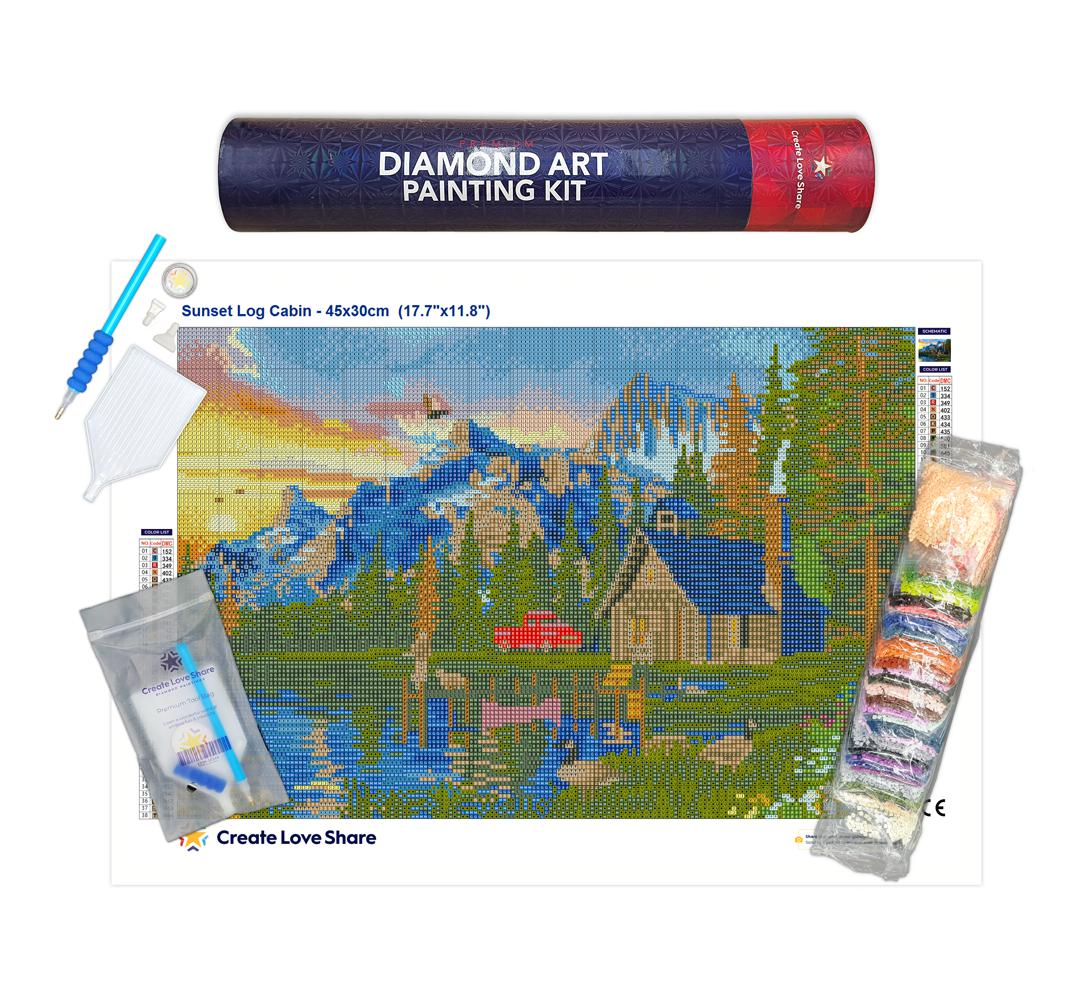 sunset log cabin diamond painting canvas kit layout by create love share