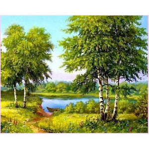 Green Nature Park-Diamond Painting Kit USPS-40x50cm (16x20 in)-Round-Heartful Diamonds