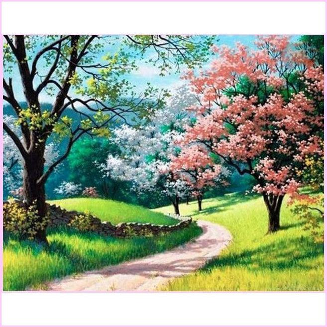 Coming of Spring-Diamond Painting Kit USPS-30x40cm (12x16 in)-Round-Heartful Diamonds