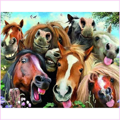 Image of Goofy Horses-Diamond Painting Kit USPS-25x30cm (10x12 in)-Square-Heartful Diamonds