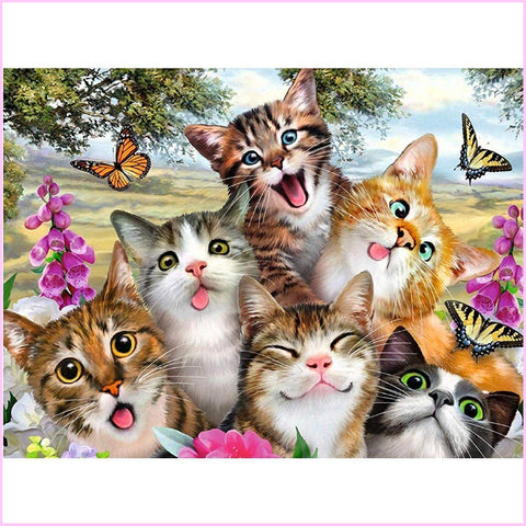 Goofy Kittens-Diamond Painting Kit-30x40cm (12x16 in)-Square-Heartful Diamonds