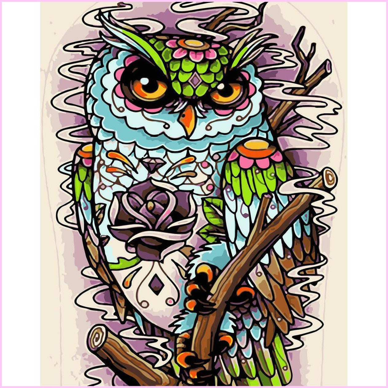 Groovy Owl-Diamond Painting Kit-30x40cm (12x16 in)-Square-Heartful Diamonds