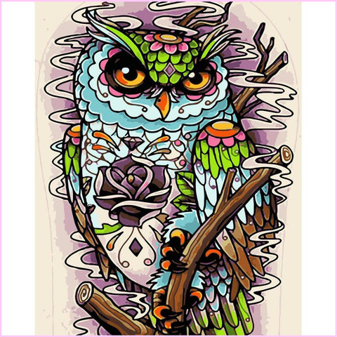 Image of Groovy Owl-Diamond Painting Kit-30x40cm (12x16 in)-Square-Heartful Diamonds