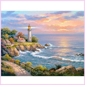 Coastal Lighthouse -  Diamond Painting Kit USPS-30x40cm (12x16 in)-Round-Heartful Diamonds