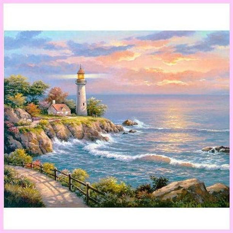 Image of Coastal Lighthouse -  Diamond Painting Kit USPS-30x40cm (12x16 in)-Round-Heartful Diamonds