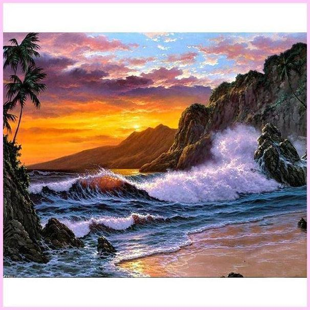 Sunset Coast-Diamond Painting Kit USPS-35x45cm (14x18 in)-Round-Heartful Diamonds