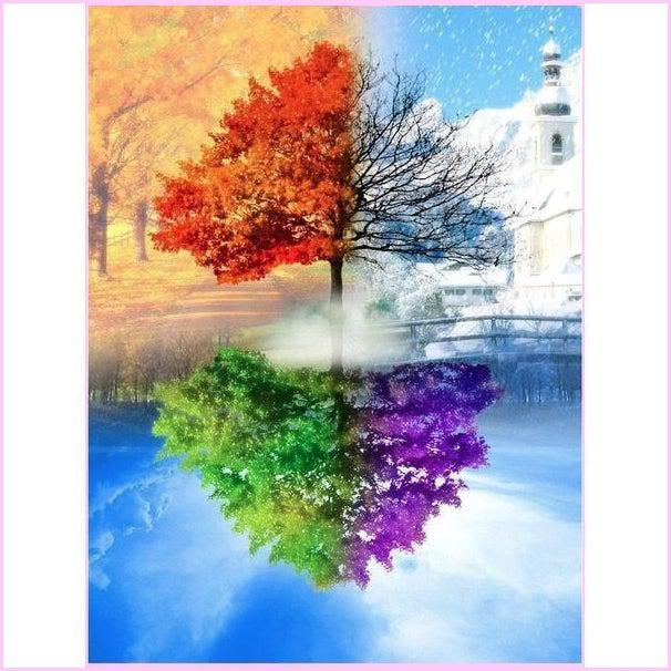 Tree of 4 Seasons-Diamond Painting Kit USPS-30x40cm (12x16 in)-Round-Heartful Diamonds
