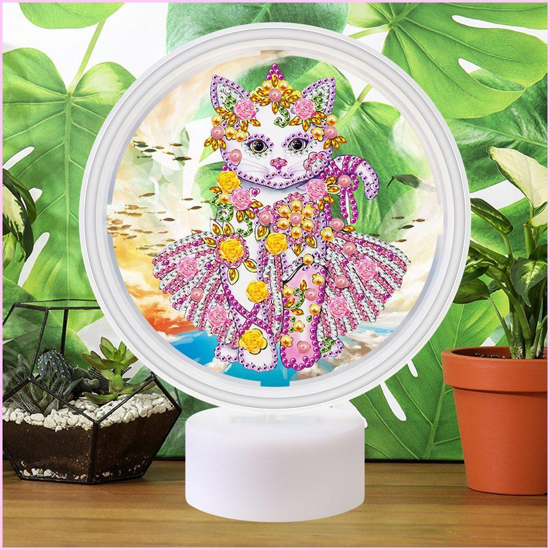 Kitty Ballerina - 3D Night Light - Heartful Diamonds