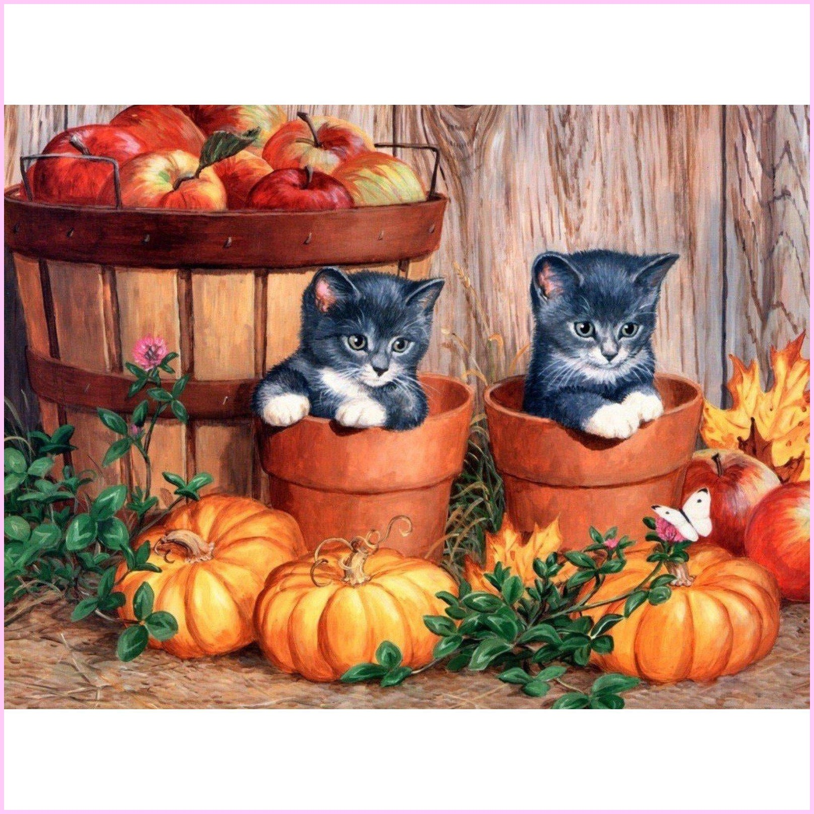 Playful Potted Kittens-Diamond Painting Kit-30x40cm (12x16 in)-Square-Heartful Diamonds