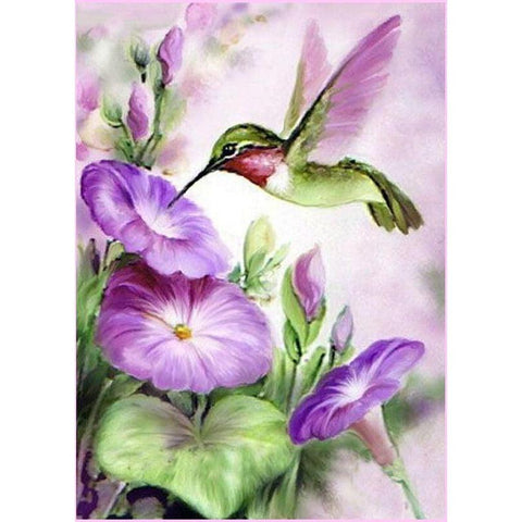 Purple Hummingbird-Diamond Painting Kit USPS-35x50cm (14x20 in)-Round-Heartful Diamonds