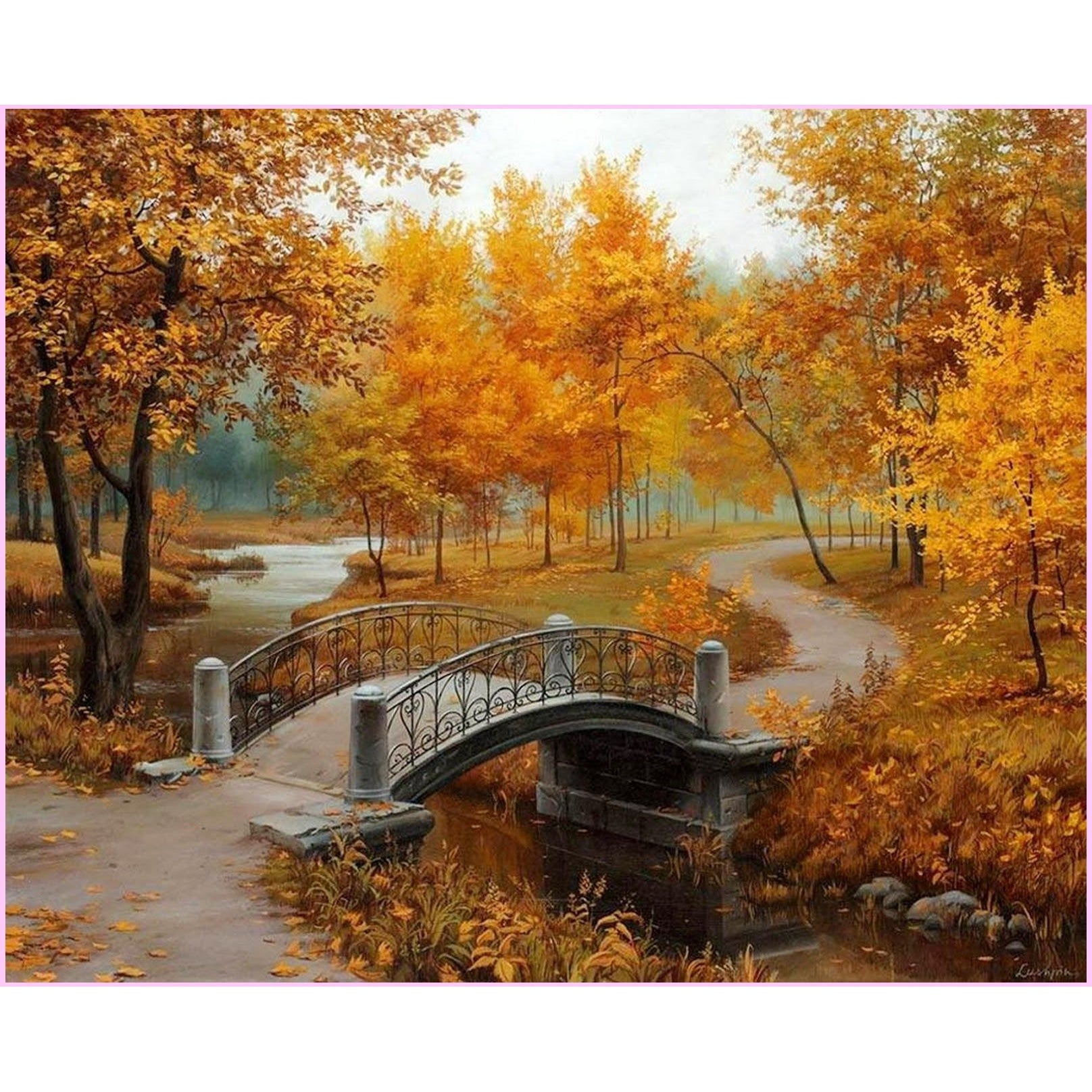 Strolling through the Park in Fall-Diamond Painting Kit USPS-30x40cm (12x16 in)-Square-Heartful Diamonds