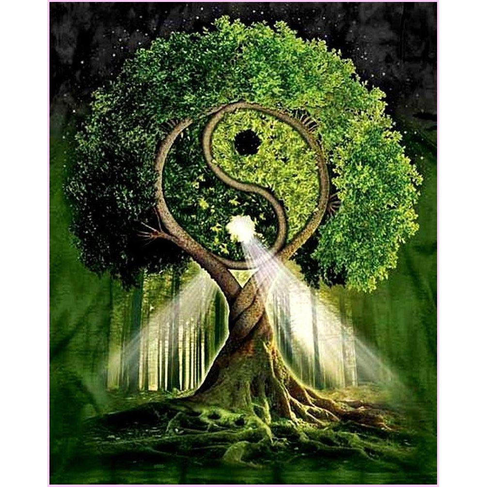 yin yang tree full drill diamond painting by create love share