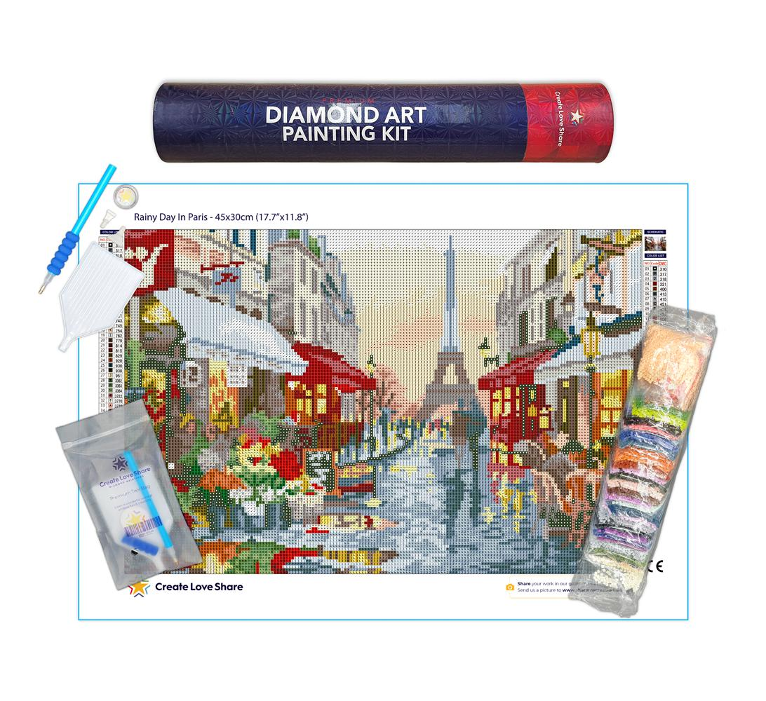 rainy day in paris diamond painting canvas kit layout by create love share