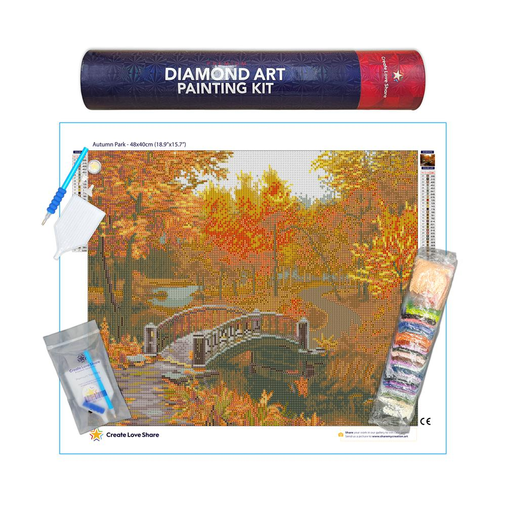 autumn park diamond painting canvas kit layout by create love share