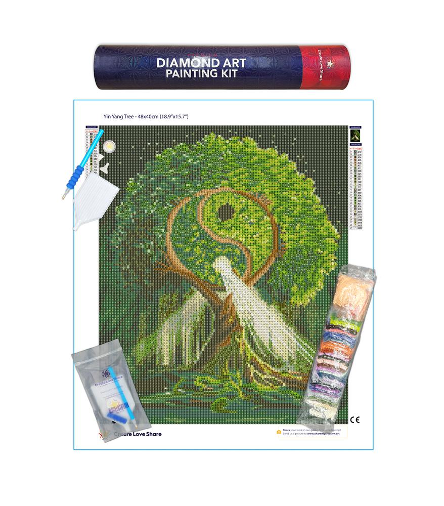 yin yang tree diamond painting canvas kit layout by create love share