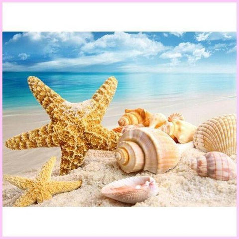 Image of Starfish Seashells - Diamond Painting Kit USPS-30x30cm (12x12 in)-Round-Heartful Diamonds